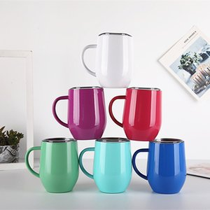 Wholesale egg shells for sale - Group buy 12oz Egg Shell Cup with Handle Lid Stainless Steel Big Belly Tumbler Dual layer Heat Insulation Coffee Mug colors