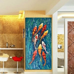 Wholesale koi fish canvas art resale online - Wall Art Chinese Nine Koi Fish Landscape Canvas Oil Painting Abstract Animal Poster Prints Modern Pictures for Living Room Home Decoration