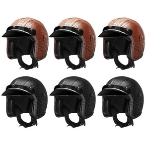 Wholesale motorcycle face mask goggles for sale - Group buy PU Leather Helmets Motorcycle Chopper Bike Helmet Open Face Vintage Motorcycle Helmet Visor Face Mask Detachable Goggles