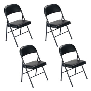 Comfort Set of 4 Folding Chairs Fabric Upholstered Padded Seat Metal Frame US