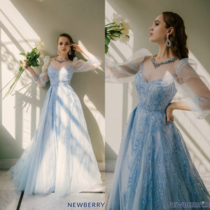 Wholesale royal blue quinceanera dress rhinestones resale online - Light Blue Evening Dresses Sequins Beading Rhinestone Party Gown Tulle Sweep Train Quinceanera Dress Custom Made Bridesmaid Dress