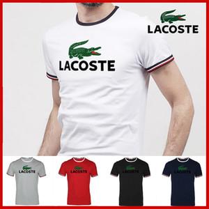 Pure cotton casual mens The designer Round collar short sleeve t shirts fashion men's tops men T-shirt lac̴oste