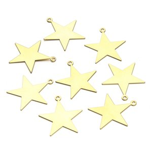 Wholesale stars jewelry resale online - 10Pcs New Design Fashion Brass Star Charms Pentacle Charms Fit Earring Bracelet Necklace Pendants DIY Handcraft Jewelry Accessory