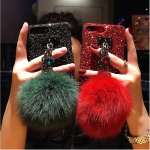 Wholesale glitter ball bracelets for sale - Group buy Luxury Glitter Bling Diamond Gem Bracelet Chain Strap Cases Fur Ball Cover For iPhone Pro max XSMAX XR Plus Phone Case