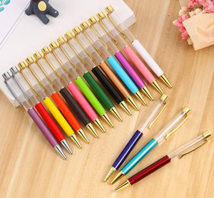 Wholesale self writing pen resale online - Creative Empty Tube Ballpoint Pens DIY Self filling Metal Pen School Stationery Office Supplies Writing Gift SN1225