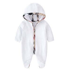 Wholesale toddlers hooded jumpsuits resale online - Baby kids romper infant boys plaid hooded jumpsuits toddler girl patch lattice long sleeve climb clothes newborn kids cotton diaper P0052