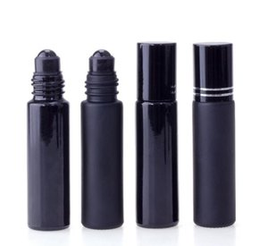 Wholesale black crystal perfume bottle resale online - Essential Oil Perfume Bottle ml Black Glass Roll On Perfume Bottle With Obsidian Crystal Roller Thick Wall Roll on Bottles SN746