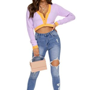 ingrosso pulsanti kawaii-2020 Maglione di primavera Donne Kawaii Cround Cardigan Manica Lunga Crop maglione bottone Contrasto V Collo Tops Blu Purple