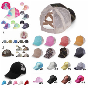 Ponytail Baseball Cap Tie Dye Sequins Messy Bun Criss Cross Snapback Caps Summer Sun Visor Outdoor Party Hat DDA68