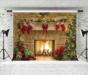 Dream 7x5ft Christmas Fireplace Backdrop Christmas Tree Gifts Decor Photography Background for Xmas Theme Holiday Party Shoot Studio Prop