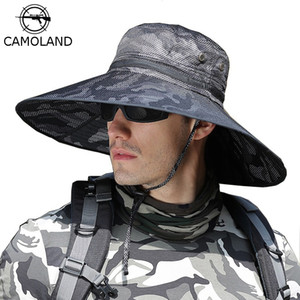 Wholesale bucket hat mens for sale - Group buy CAMOLAND Camouflage Bucket Hats For Mens UPF Summer Sun Hat Casual Male Outdoor Fishing Hat Long Wide Brim Boonie Cap Y200619