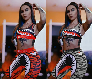 Women Ethika Swimwear Bikini Tie up Bra +Shorts Half Length Pants 2 Piece Patchwork Tracksuit Bikinis Shark Camo Striped Swimsuit