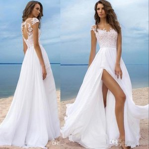 Wholesale sexy open back beach wedding dresses for sale - Group buy New Cheap Summer Beach Boho A Line Wedding Dresses Jewel Neck Lace Appliques Illusion Cap Sleeves High Split Sexy Open Back Bridal Gowns