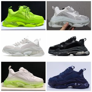 semelle transparente achat en gros de-news_sitemap_homechaussures balenciaga Paris FW Triple S Sneakers Mens Women Casual Shoes Transparent crystal bottom Tripler Clear Sole White Green Black Sports Outdoor Dad Shoe