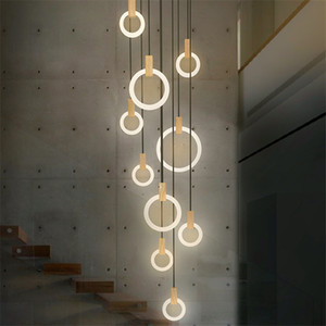 Contemporary Wood LED Chandelier Lighting Acrylic Rings Led Droplighs Stair Lighting 3 5 6 7 10 Rings Indoor Lighting Fixture