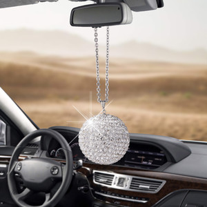 Free shipping Auto Decoration Car Rear View Mirror Ornament Hanging Ornaments Large Size Bling Bling Diamond Crystal Ball Pendant Creative