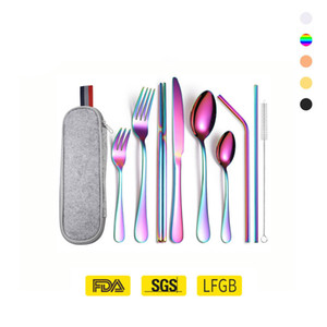 High Quality Classic Gold Silverware Wholesale Travel Cutlery Stainless Steel Spoon And Fork Set In a Case Knife Straw Custom LOGO