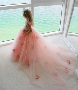 Beach Wedding Flower Girl Dresses Blush Tutu Spaghetti Ruffles 2021 Girls Pageant Dress Gowns for Baby Child Birthday Party