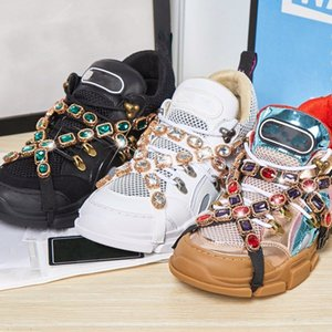 Wholesale color block sneaker resale online - Men s and women s hiking shoes couple old shoes diamond decorated vamp thickened outsole lace up color blocking sneakers