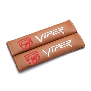Wholesale viper cars for sale - Group buy Modification For VIPER edition emblem brown leather seat belt cover shoulder pad Car accessories for