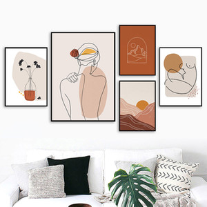 Wholesale body art abstract resale online - Boho Wall Art Poster Abstract Landscape Canvas Print Woman Body Line Posters Sun Beige Gallery Wall Pictures Interior Home Decor