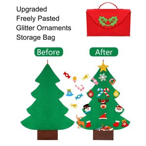 Wholesale felt ornaments for sale - Group buy DIY Toddler Felt Christmas Tree for Freely Pasted Kids Toys Gifts Christmas Tree with Glitter Bag Ornaments Wall Hanging Decor