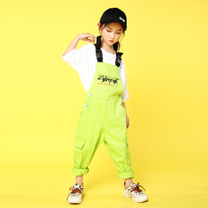 Kids Hip Hop Costumes Casual T Shirt Tops Loose Bib Pants Girls Boys Jazz Dance Outfits Ballroom Dancing Clothes Stage Wear