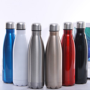 Wholesale heating water resale online - 17oz Heat Sublimation Bottle Stainless Steel Water Bottle Cola Shaped Double Wall Flask Insulated Vacuum Travel Mug DDA264
