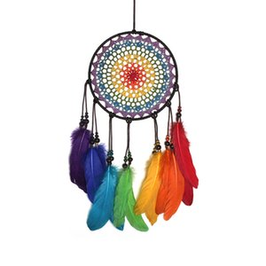 casamento dos chimes venda por atacado-Handmade Rainbow Color penas Dreamcatcher Wind Chimes Sonho Catchers Presentes DIY Wedding Home Decor Ornaments