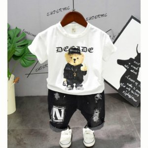 Wholesale kids cartoon casual t shirts for sale - Group buy Boys Designer Cartoon Suits Kids Two piece Set Children T shirt Pants Fashion Print Wild Suits Boys Casual Summer Bear Sets Hot Sale