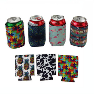 Wholesale cans sodas for sale - Group buy Slim Can Beer Insulators Premium Neoprene Beverage Cooler Collapsible Cola Soda Bottle Cactus Leopard Can Sleeve DDA218