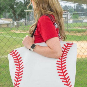 19 Styles Canvas Bag Baseball Tote Sports Bags Casual Softball Bag Football Soccer Basketball Cotton Canvas Tote Bag CCA7889 50pcs