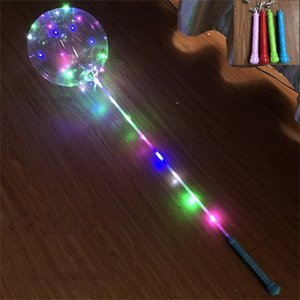 2020 bobo balloons with handle flashing LED night lights 18inch bobo ball transparent clear balloons stick for wedding holiday sale hot