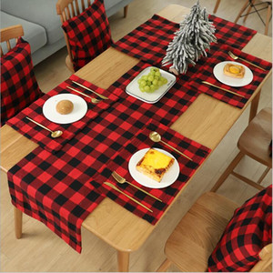 Plaid Table Mat Placemat Red Black Plaid Table Cutlery Christmas Decoration Place Mat Tablecloth Xmas Home Party Decorations 44*29cm DHC157