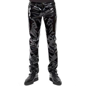 Wholesale men's leather pants for sale - Group buy New Autumn Men s PU Leather Pants Punk Style Skinny Party Stage Performance Night Club Sexy Solid Faux PU Leather Trousers