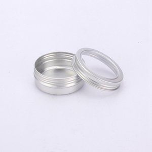 Wholesale jarred jewelry resale online - 60ml Metal Tin Container Aluminum Cream Jar Pot With Visible Window Small Box Screw Lid Empty Cosmetic Portable Storage Boxes LJJP122