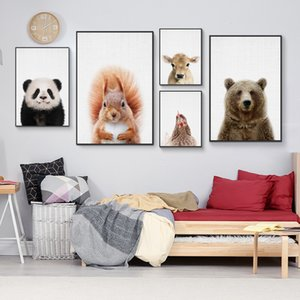 фотографии duck оптовых-Kawaii Cute Farm Animal Panda Hen Duck Плакат Prints Wall Art Canvas Картина Детские декоративные Изображение Nordic Kid Room Decor