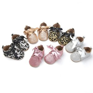 Wholesale boy girls sexy resale online - 0 M Sexy Leopard Print First Walkers Infant Boy Girl Shiny Sequined Shoes Tassel Tied Knot Soft Sole Baby Shoes Styles