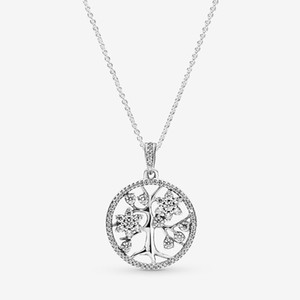 Wholesale mens necklaces for sale - Group buy 925 Sterling Silver Sparkling Family Tree Pendant NECKLACE Women Mens gift with Original box for Pandora Chain Necklaces