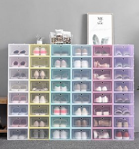 Thicken Clear Plastic Shoe Box Dustproof Shoe Storage Box Flip Transparent Shoe Boxes Candy Color Stackable Shoes Organizer Box