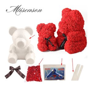 Wholesale glue gun set resale online - 1PC cm cm Foam Rose Bear dog Mold DIY Artificial Rose teddy Bear glue gun sticker set for valentine s day wedding gift decor
