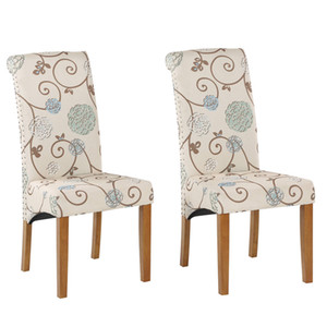 Wholesale wood chair legs resale online - WACO Dining Chairs High Back Fabric Padded Side Nailed Trim with Solid Wood Legs houtel Dinning Room Restaurant Chair Floral