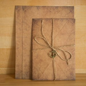 Wholesale kraft paper stationery set resale online - Vintage Kraft Paper Envelopes Letter Paper Set with Exquisite Pendant Rope Stationery Envelope Set Confession Letterhead