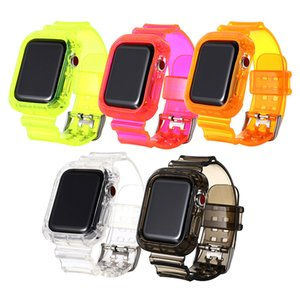 Wholesale strap ones resale online - Transparent Watch Band rubber strap and case two one For Apple Watch mm mm For iWatch Series Replacement loop Wristband