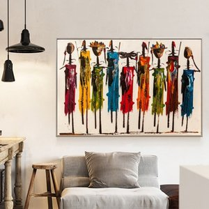 Wholesale african modern abstract art paintings resale online - Modern Abstract Wall Art African Woman Oil Painting on Canvas Posters Prints Wall Pictures for Living Room Bedroom Home Decoration