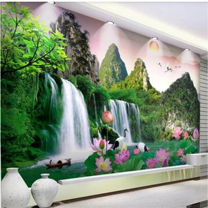 Wholesale living room live waterfall wallpaper for sale - Group buy Custom d wallpapers d murals wallpaper for living room Waterfall landscape wallpapers background wall