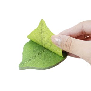 Wholesale shaped sticky notes resale online - Korean Stationery Cute Green Leaf Shape Memo Pad Sticky Notes Refreshing Style Paper Sticker Pads