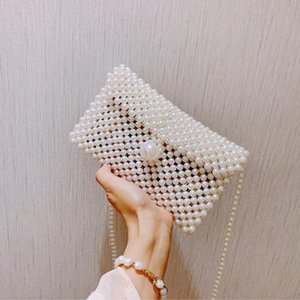 Wholesale hands bags beaded resale online - Vintage Woven Brand Handbag Bags Bag Beaded Pearl Body Zipper Women Party Hand Shoulder Ins Small Flap Mini Lady Cross Qrjes