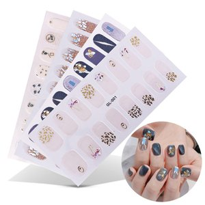 Art Stickers & Decals 16 Posts 1 Sheet Art Stickers UV Gel Polish Nail Wraps Strips Full Cover Colorful Nail Polish