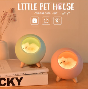 USB Little Sleeping Pet House LED MoodLight, Electronic Gadgets, Creative Cute Nightstand Light, Touch Dimming Lamp